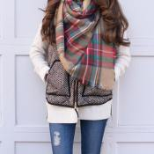 Red & Tan Blanket Scarf